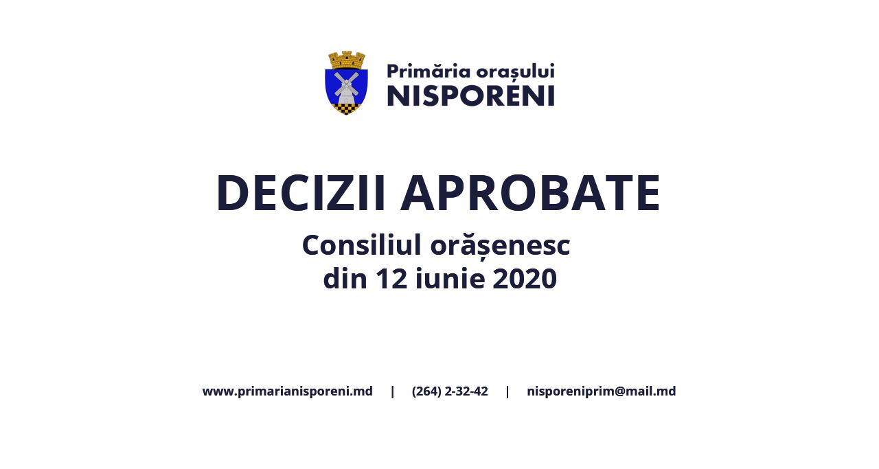 Deciziile Consiliului orășenesc Nisporeni din 06 februarie 2020