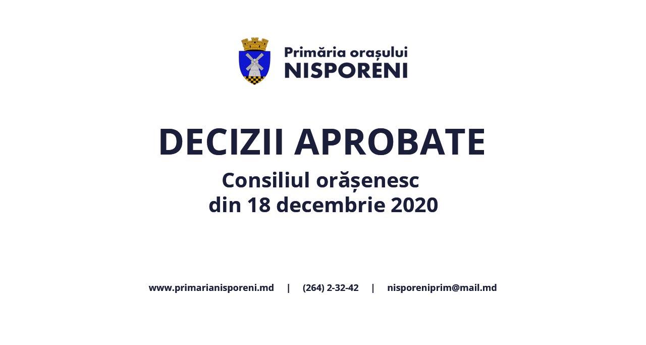 Deciziile Consiliului orășenesc Nisporeni din 18 decembrie 2020