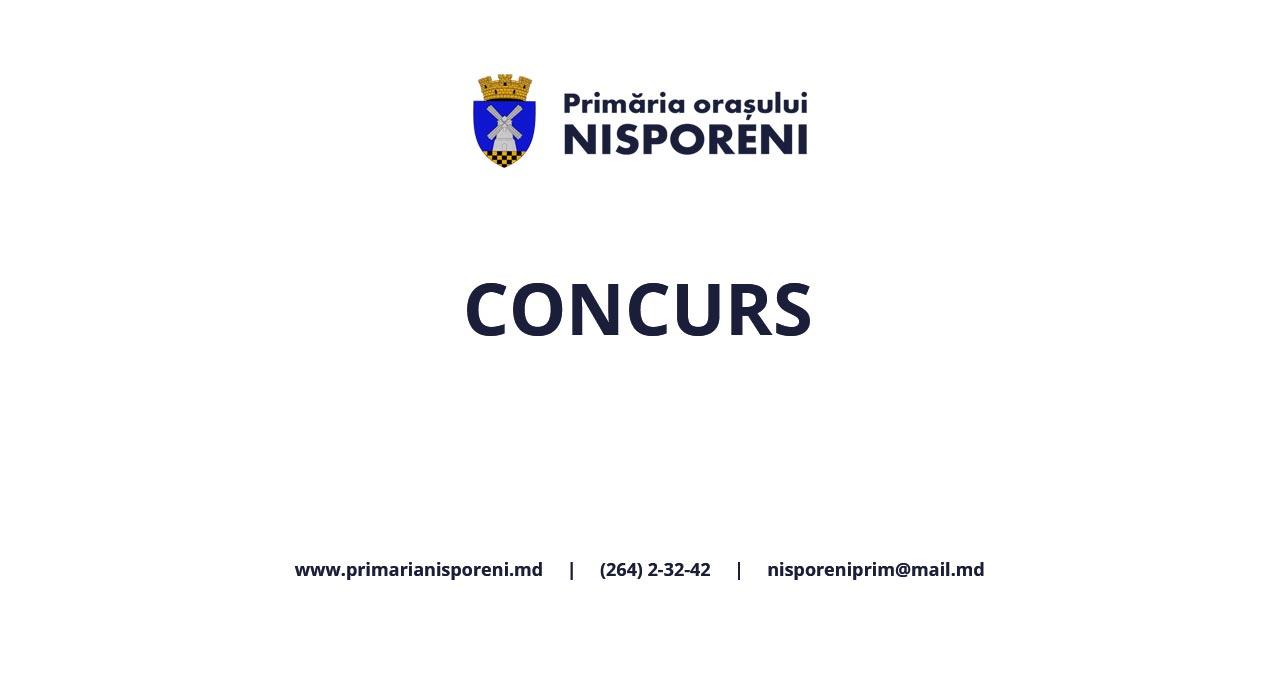 Primăria orașului Nisporeni anunţă concurs pentru ocuparea posturilor vacante de director